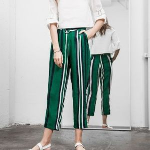 J.O.A. Beverly High Waisted Striped Paperbag Pants